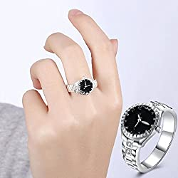 Hot Sale Watch! AMA(TM) Women Men Dial Quartz Analog Watch Creative Stainless Steel Finger Ring Watch Gifts (US 7)