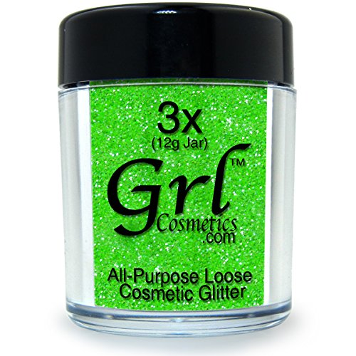 Grl Cosmetics Cosmetic Glitter Makeup for Face, Eyes, Lips, Nails and Body - GL23 Lime, 12 Gram Jar