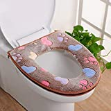 Longay Shaggy Bathroom Rug for Toilet Wash/Dry Removable Soft Warm Toilet Seat Cover (Coffee)
