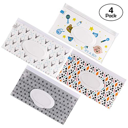 Wet Wipe Pouch 4PCS Travel Wet Wipe Pouch Dispenser for Baby boy Wipes Great for Travel Or Picnic (Boys)