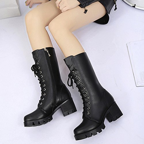 10 Size Ankle Boots Motorbike Insoles Riding Desert Lace Tactical Winter Lolittas Zipper 3 Chunky Hug Chukka Mid Horse Up Black Martin Heel Shoes Women twREBqE