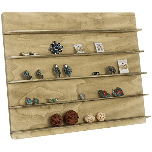 MyGift Torched Wood 5 Tier Retail Jewelry Showcase Rack, Countertop Small Merchandise Display Stand (Retail Showcase)