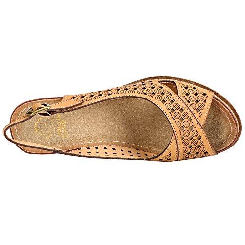 Alexis Leroy Block Heel Cut-Out Vamp Peep Toe Slingback Women's Sandals Apricot BMNWoQLe6a
