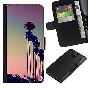 iBinBang / Flip Funda de Cuero Case Cover - Árboles La Puesta del sol púrpura de Palm - HTC One M8