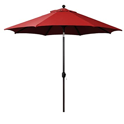 b4205d36a219 Amazon.com : 9-Foot Galtech (Model 737) Deluxe Auto-Tilt Umbrella with  Antique Bronze Frame and Sunbrella Fabric Jockey Red (Includes Extended  Frame ...