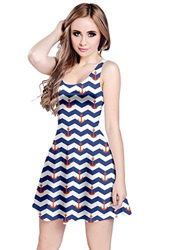 CowCow Womens Navy Sailor Anchor Pattern Sleeveless Skater Dress, - Sailor Anchor
