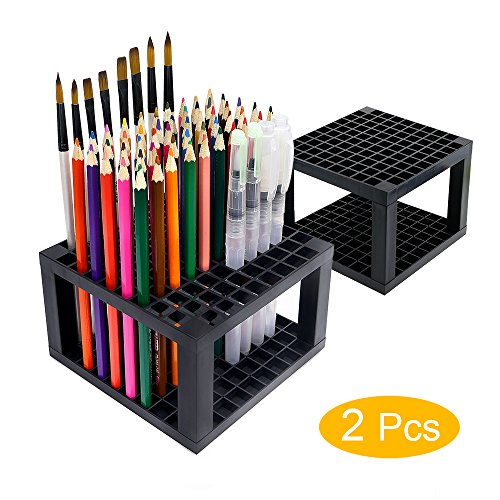 96 slots Pencil Holder - Desk Stationary Standing Organizer Holder, Perfect for Pen/Pencil, Paint Brush, Gel Pen, and More by WeiBonD (2 Packs) by WeiBonD