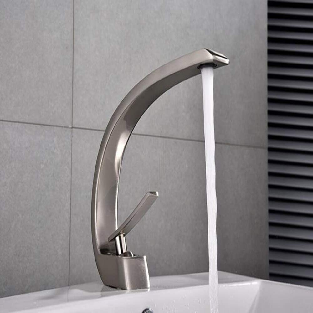 GCCLCF Basin faucet bathroom copper large curved hot and cold pull faucet kitchen faucet sink faucet,Silver