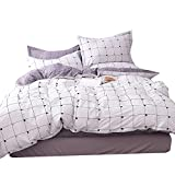 ORoa Lightweight Cotton Duvet Cover Sets for Teens Adults 3 Piece Reversible Plaid Home Textile Bedding Set with Pillow Shams (Twin, Style 6)