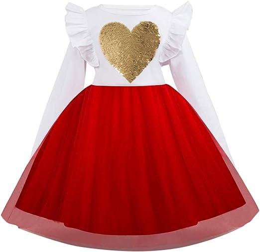 liqiqi Vestido para niña Princesa Lentejuelas Corazón impresión ...
