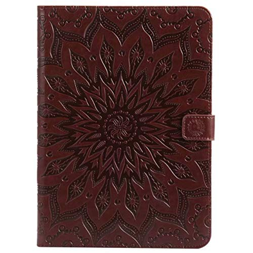 (iPad 9.7 Inch 2017/2018 Case,Sunflower Embossed PU Leather Folio Stand Cover with Card Slots for Apple iPad 9.7 Inch 2017/2018 Release (Brown))