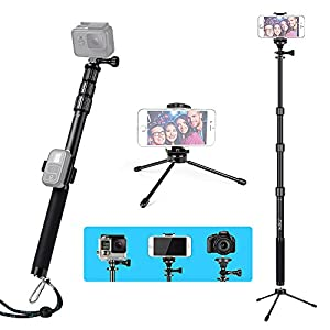 HSU Handheld Monopod Extension Pole With Phone Clip Holder,Tripod Stand, Waterproof Selfie Stick for GoPro Hero 6/5 Black/Session ,Digital Cameras and Cell Phone | Extendable At 44''