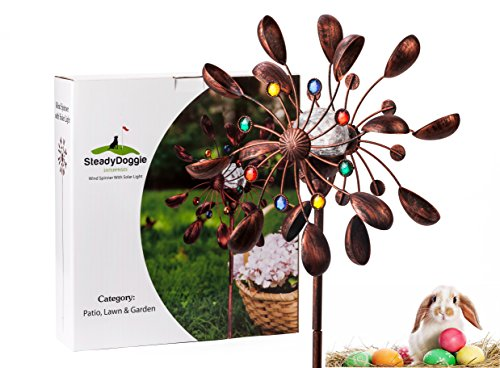 SteadyDoggie Sports & Outdoors Solar Wind Spinner New 75in Jewel Cup Multi-Color Seasonal LED Lighting Solar Powered Glass Ball with Kinetic Wind Spinner Dual Direction for Patio Lawn & Garden (Copper Garden Sculpture)