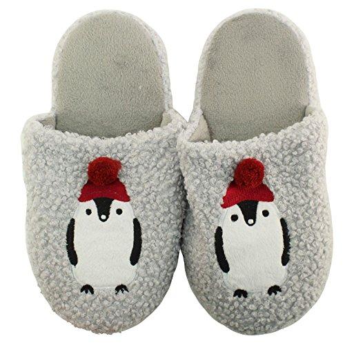 SK Hat shop Cute Chilly Penguin Pom Pom Non Slip Fleece Lined House Slippers Slides Gray bmlIz9Kzl