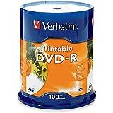 Verbatim DVD-R 4.7GB 16X White Inkjet Printable with Branded Hub 100 Pack Spindle