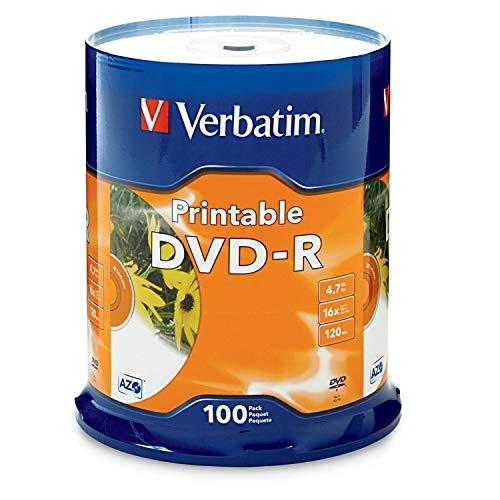 Verbatim DVD-R 4.7GB 16X White Inkjet Printable with Branded Hub, 100-Disc