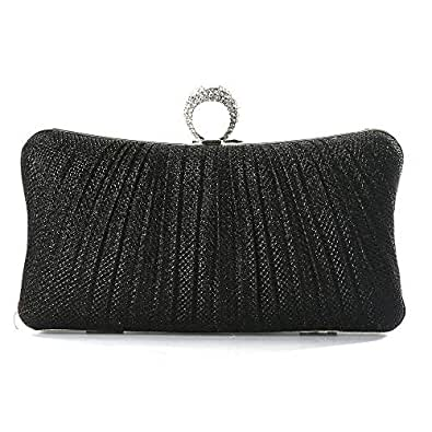 iwish Womens Black Glitter Clutch Purse Pleated Evening Bag for Bridal Wedding Party with Rhinestone Ring