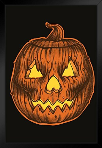 Glowing Carved Rotting Halloween Pumpkin Head Art Print Framed Poster 14x20 (Halloween Pumpkin Head Drawings)