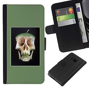 Be-Star la tarjeta de Crédito Slots PU Funda de cuero Monedero caso cubierta de piel Para HTC One M9 ( Apple Doctor Away Death Skull Core )