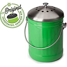 Premium Quality, Kitchen and Home Compost Bin, Eco Green Friendly and Decorative. Includes Odor Free Filter — 1.3 Gallon Capacity