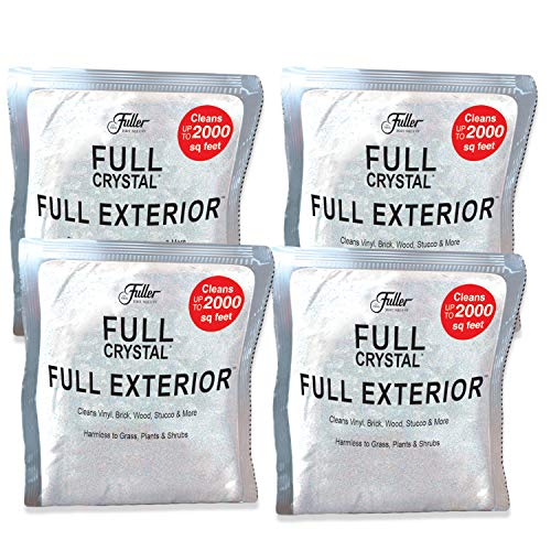 Full Exterior 1 LB. Refill Kit - Four 4oz. Crystal Powder Outdoor Cleaner Packets (Cleans Up to 8,000 Sq. Ft): Non-Toxic, No Scrub, No Rinse Cleaning Solution