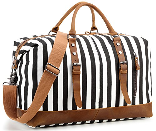 Overnight Bag Weekender Women Men Travel Duffel Bag Canvas Genuine Leather Luggage Weekend Tote (Black stripe) by BLUBOON