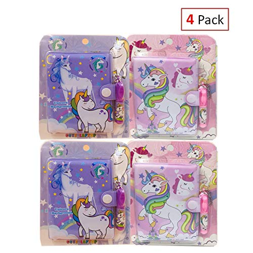 EIXJA 4 Pack Unicorn Notepad and Pen Set Small Notebooks for Kids Journal for Girls, Unicorn Party Favors Perfect Unicorn Gifts