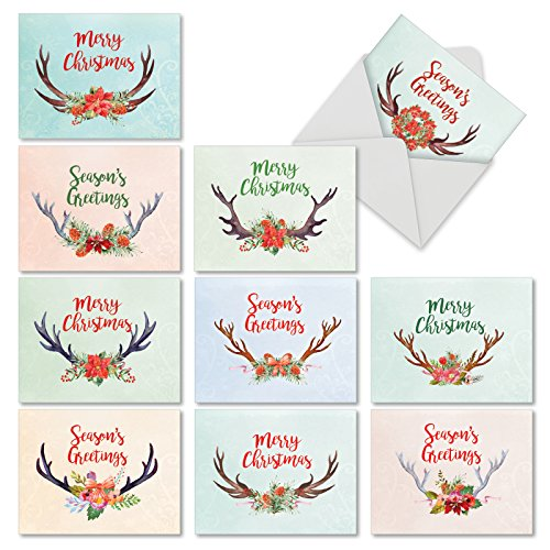 M6720SGGsl Floral Horns: 10 Assorted Seasons Greetings Note Cards Featuring Holiday Greetings Over Reindeer Antlers and Flower Arrangement, w/ White -