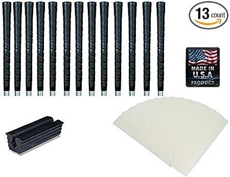 Tacki-Mac Golf Grips Standard Size Black Pro Tour Wrap Grip Kit (13 Grips, Grip Tape, clamp, Instructions)