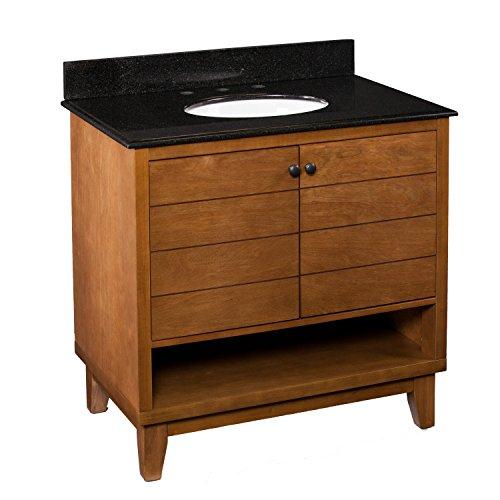 Laminated Black Granite Top - SUPERNOVA WAREHOUSE LLC Bathroom Modern Unique Wood Wooden Vanity Sink with Black Granite Countertop, Double Door Cabinet and Open Shelf