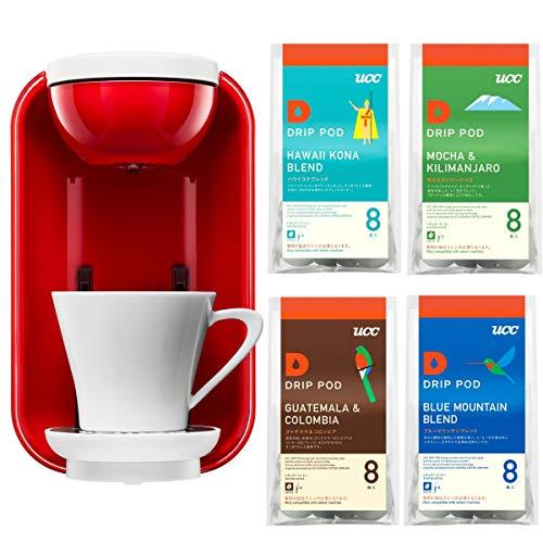 【세트 구매】 UCC 드립백 커피 포드 가득 추출 커피 머신 캡슐식 화이트×레드 DP2A + 커피 탐구《아소토》 monthly 세트(110V사용-변압기필요)