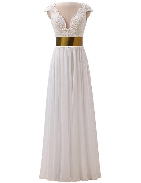 Callmelady Vestidos de Fiesta Largos para Mujer Vestidos de Gala con Perlas Corpiño (Marfil,