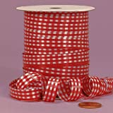 "Red Gingham Curling Ribbon, 3/8"" X 250Yd"
