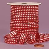 Red Gingham Curling Ribbon, 3/8'' X 250Yd