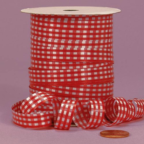 Red Gingham Curling Ribbon, 3/8'' X 250Yd by Paper Mart