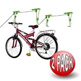 Bike Lane Products Bicycle Storage Lift Bike Hoist 100Lb Capacity Heavy Duty 2 Pack, Green