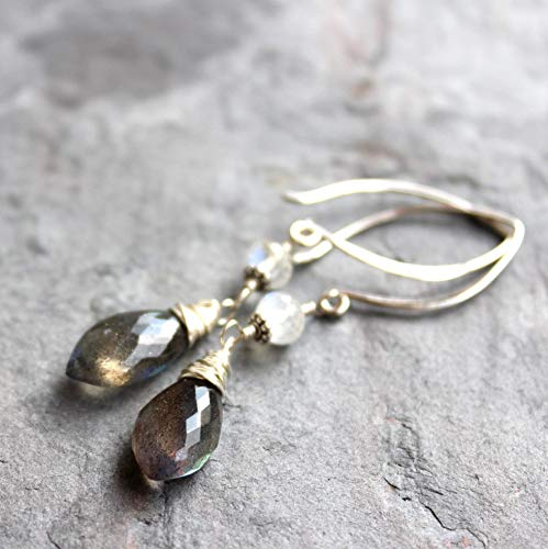 - Labradorite Earrings Sterling Silver Moonstone Accent Elegant Arched Earwires
