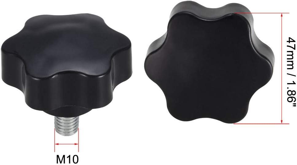 uxcell M10x16mm Perilla de tornillo de sujeci/ón 48 mm de di/ámetro, mango hexagonal, rosca macho M10 x mm 3pcs