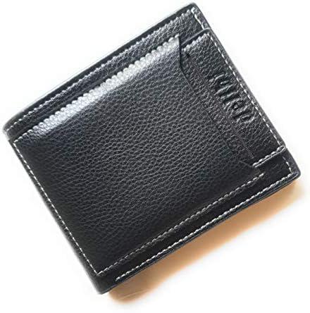 Men/'s Black GENUINE LEATHER WALLET Purse Bi-Fold Credit Business ID Card Holder