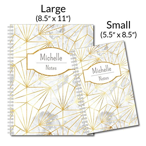 Golden Girl Personalized Modern Marble Spiral Notebook/Journal, 120 College Ruled or Checklist Pages, durable laminated cover, and wire-o spiral. 8.5x11 | 5.5x8.5 | Made in the USA Photo #2