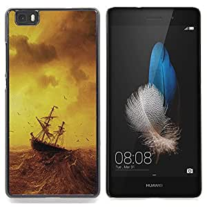 GIFT CHOICE / Teléfono Estuche protector Duro Cáscara Funda Cubierta Caso / Hard Case for Huawei Ascend P8 Lite (Not for Normal P8) // Stormy Sea Painting Ship Sailing Ocean Birds //