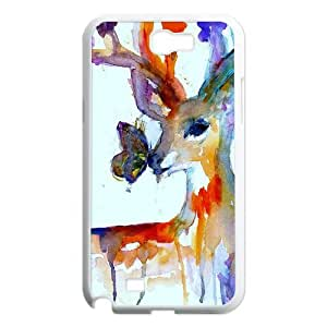 New Fashion AXL367299 Painted Pattern Phone Case For Samsung Galaxy Note 2 N7100 Cover Case w/ Watercolor Deer and Butterfly