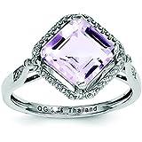Argent Sterling diamant Quartz rose et bague carré N-Taille 1/2–JewelryWeb