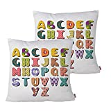 Queenie - 2 Pcs Alphabet For Kids Cotton Decorative Pillowcase Cushion Cover Throw Pillow Case 15.75 X 15.75 Inch 40 X 40 Cm, Set of 2 (Textile Scrapbook Alphabet)
