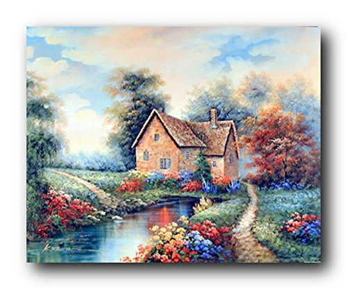 Scenery Wall Decor Country Cottage Garden Flowers River Landscape Art Print Poster (16x20) from Impact Posters Gallery