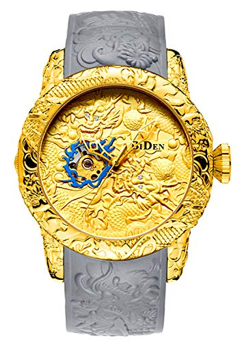 Chinese Dragon Face (Automatic Watch for Men Fashion 3D Engraved Dragon Waterproof Big dial Sport Wristwatch)