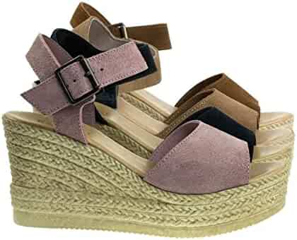 c6b349c239 BAMBOO Plastic Faux Espadrille Platform Wedge Sandal, Women's Open Toe