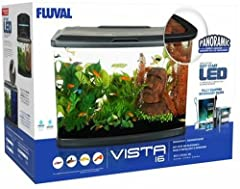 With its panoramic design, easy-feeding door, energy-efficient soft start lighting and AquaClear filter, Fluval Vista Aquarium Kit 16 Gallon is the ideal choice for hobbyists looking for great aesthetics as well as simple maintenance. Energy-...