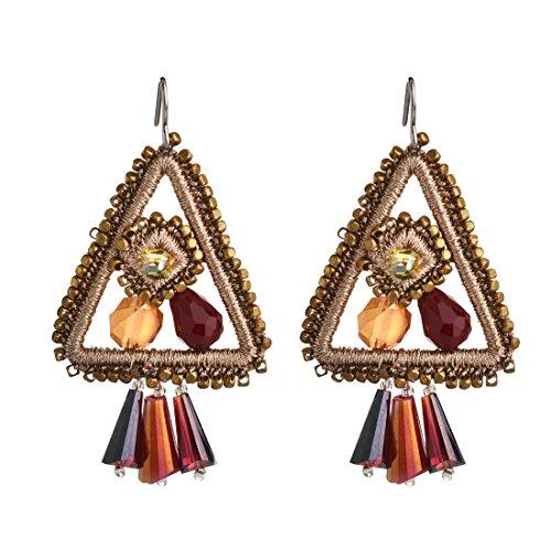 YIFEI Handmade Woven Earrings Hoop Earring for Women Vacation,Triangle Shape,Champagne Gold (Fancy Thread Earrings)
