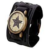 LANDFOX Retro Punk Rock Big Wide Leather Bracelet Cuff Star Watch Black
